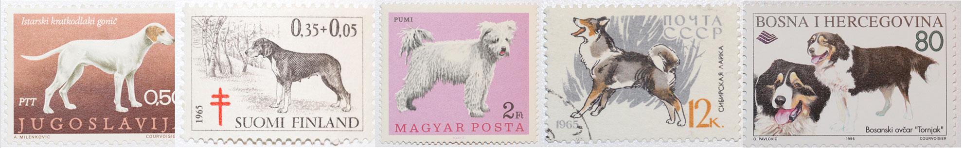 Hunde auf Briefmarken